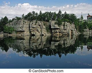 Rock reflecting in the lake