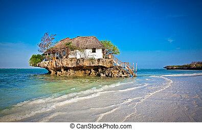 Rock Restaurant over the sea in Zanzibar, Tanzania, Afrika.