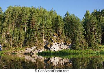 Rock River Chusovaya in the Perm region