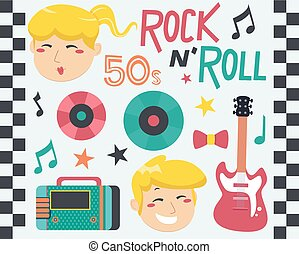Rock Roll Music Design Elements Illustration