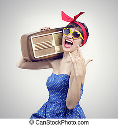 Portrait of a Pin Up listening to the radio