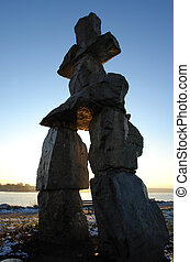 Rock Sculpture in Vancouver - Tall Rock Sculpture at Sunset ...