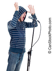 rock singer isolated on white