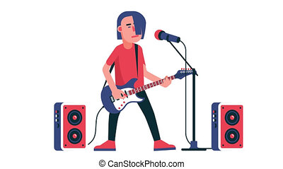 Rock singer with an electric guitar sings into microphone on...