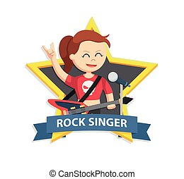 rock singer woman in star emblem