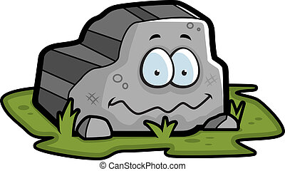 A cartoon gray rock smiling and happy.