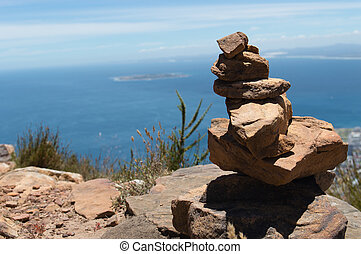 Rock Stack - Stack of rocks with in the background Robben...