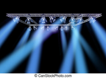 Rock stage lighting with professional spot lights and truss construction