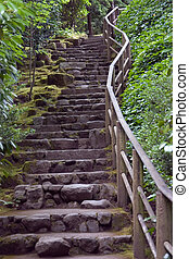 Staircase made of stone at the Japanese Gardens in Portland, Oregon.