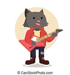 rock star cat guitarist
