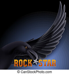 Rock star concept with raven holding star in its beak over...
