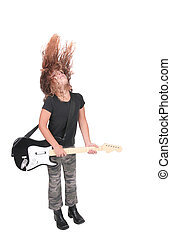 rock star girl - one young rock star wannabe playing guitar...