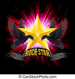 Rock star - Golden Rock Star banner with two ravens over...