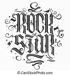 rock star lettering - Rock Star lettering print for card,...
