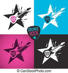 Rock star logo, electric guitar on a crashed star