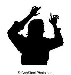 Rock star male silhouette profile vector illustration...