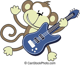 rock star monkey - illustration of funny monkey playing...