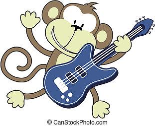 rock star monkey - illustration of funny monkey playing...