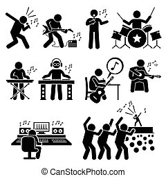 Rock Star Musician Music Artist - Vector set stick figure...