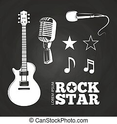 Rock star or musician elements set on blackboard. Vector...