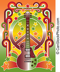 Rock Star Peace - An illustration of a guitar, peace symbol ...