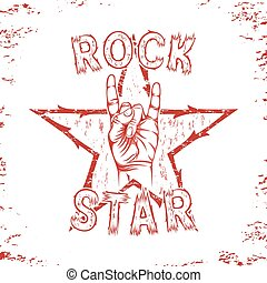 Rock star, print for t-shirt graphic.