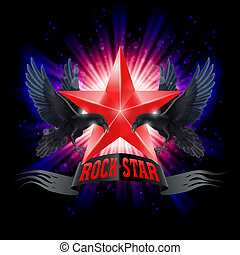 Rock star - Red Rock Star banner with two ravens over...