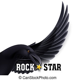 Rock star - Rock Star concept with raven holding star in its...