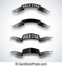 Rock star - Set developing ribbon in the wind with torn...