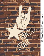 Rock Star Sign With Horns Gesture On Brick Wall