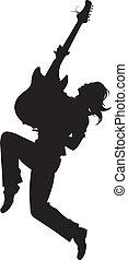 rock star Silhouette - Illustratio - guitarist silhouette on...