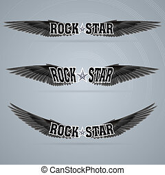 Rock star soars on the black wings of music on the waves