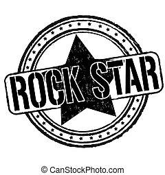 Rock star stamp - Rock star grunge rubber stamp on white,...