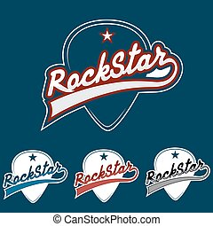 rock star vintage vector illustration with guitar mediator