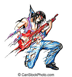Rock Star with Guitar - illustration of rock star with...