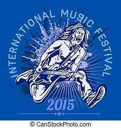 Rock star with guitar on grunge background - rock festival