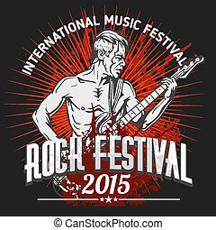 Rock star with guitar on grunge background - rock festival...