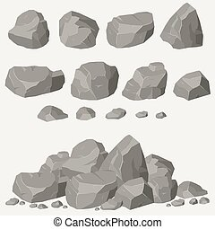 Rock stone set cartoon. Stones and rocks in isometric 3d...