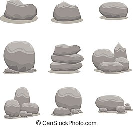 Rock stone set element vector art