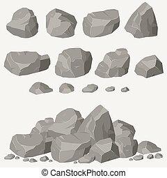 Rock stone set cartoon. Stones and rocks in isometric 3d...