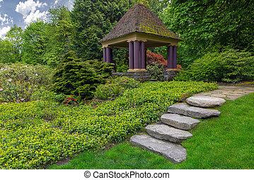 Rock Stone Steps Leading to Garden Gazebo