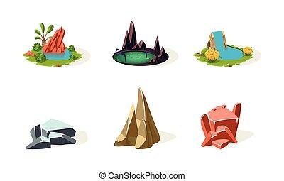 Rock stones, lake, pond, waterfall, elements of natural landscape set, user interface assets for mobile app or video game vector Illustration