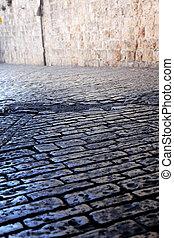 Rock street in old city in Jerusalem, Israel