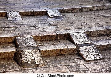 Rock street in old city in Jerusalem