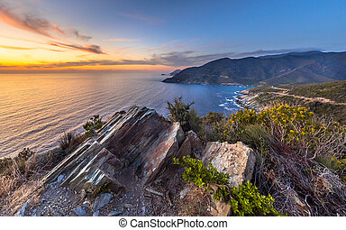 Rock structures Cap Corse - Artistic sedimentary rock ...