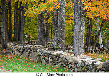 Rock wall, New England - Rock wall running through an autumn...