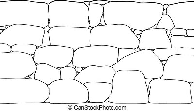Rock Wall Outline - Outline illustration of tall rock...