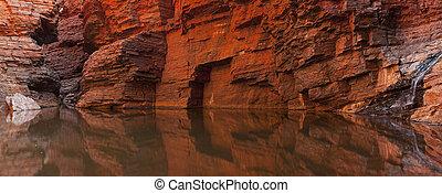Rock wall reflections in a gorge, Karijini NP, Western Australia