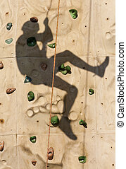 Rock Wall Shadow - Shadow of a person climbing on a rock...