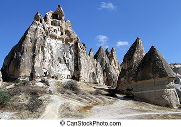 Rock with caves near Gereme in Cappadocia, Turkey